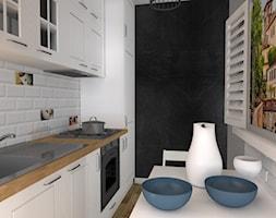 Mieszkanie (Lubliniec) - Mała zamknięta wąska szara czarna kuchnia jednorzędowa, styl włoski - zdjęcie od Agnieszka Buchta-Swoboda Design