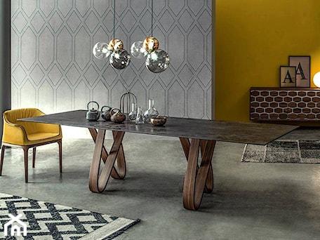 Średnia otwarta żółta jadalnia jako osobne pomieszczenie, styl nowoczesny - zdjęcie od Inter-comodo