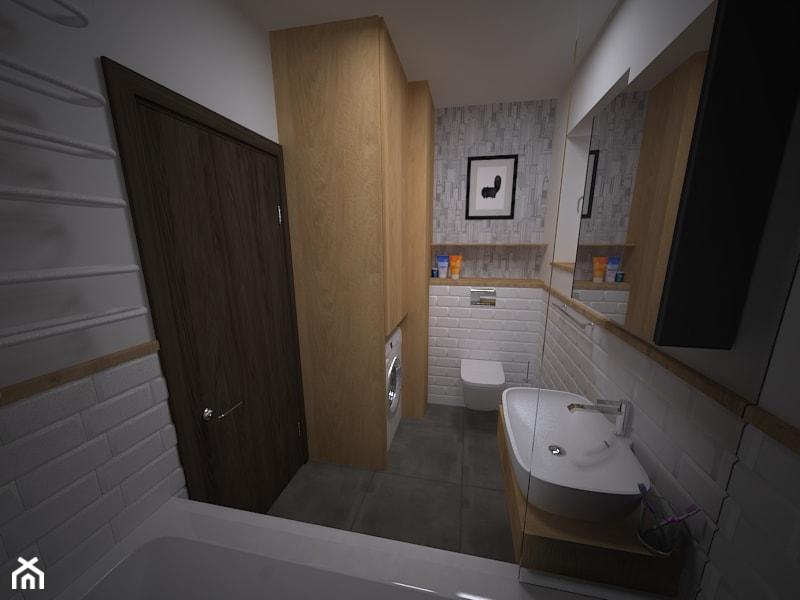 Łazienka w bieli - opcja z tapetą - zdjęcie od Proste Rzeczy - aranżacja i projektowanie wnętrz