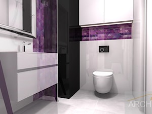 Mieszkanie z akcentem - Mała czarna szara fioletowa łazienka w bloku w domu jednorodzinnym bez okna - zdjęcie od Archi-Ann