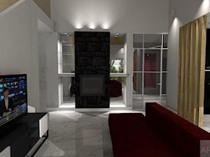 Nowoczesna stodoła w eleganckiej odsłonie - Mały biały salon z kuchnią, styl nowoczesny - zdjęcie od Archi-Ann