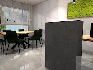 Biuro rachunkowe - Duża otwarta biała szara jadalnia jako osobne pomieszczenie - zdjęcie od Archi-Ann