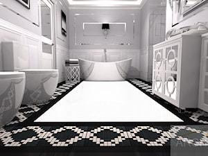 Łazienka w stylu Hampton's - Duża biała łazienka w bloku w domu jednorodzinnym bez okna, styl glamour - zdjęcie od Archi-Ann
