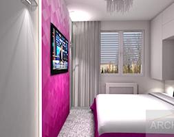 Mieszkanie z akcentem - Mała szara fioletowa sypialnia małżeńska - zdjęcie od Archi-Ann