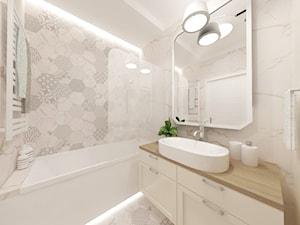 Projekt wnętrza mieszkania w Warszawie - Mała łazienka w bloku w domu jednorodzinnym bez okna - zdjęcie od EWMAarchitekci