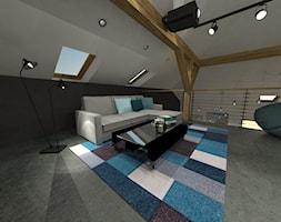 projekt wnętrza domu w Kolonii Serniki - Średnia szara czarna sypialnia dla gości na poddaszu na antresoli, styl industrialny - zdjęcie od EWMAarchitekci