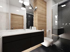 Projekt wnętrza mieszkania w Warszawie 55 m2 - Mała biała czarna łazienka na poddaszu w bloku w domu jednorodzinnym bez okna - zdjęcie od EWMAarchitekci