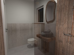 łazienka w stylu jaskini - Mała szara łazienka na poddaszu w bloku w domu jednorodzinnym z oknem, styl rustykalny - zdjęcie od agata.opolska@gmail.com