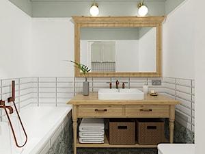 Sopot 38m2 - Mała biała szara łazienka w bloku w domu jednorodzinnym bez okna, styl prowansalski - zdjęcie od Alternatywne Studio