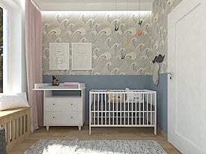 Warszawa Targówek 73m2 - Mały szary niebieski pokój dziecka dla dziewczynki dla niemowlaka - zdjęcie od Alternatywne Studio