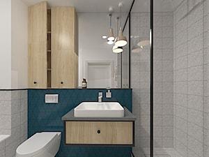 Warszawa Bemowo 61m2 - Mała niebieska szara łazienka w bloku w domu jednorodzinnym z oknem, styl art deco - zdjęcie od Alternatywne Studio