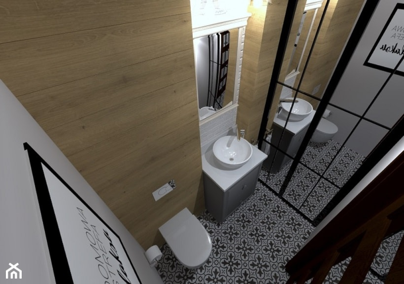 Domowa strefa relaksu - Mała szara łazienka w bloku w domu jednorodzinnym bez okna, styl rustykalny - zdjęcie od Projektowanie wnętrz Olga Januszkiewicz