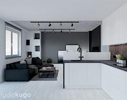 Dom w Modlniczce - Mała otwarta biała szara kuchnia w kształcie litery l w aneksie z oknem, styl nowoczesny - zdjęcie od Studio kugo