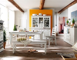 Biała kuchnia z jadalnią - meble drewniane - zdjęcie od MEBEL4U.PL
