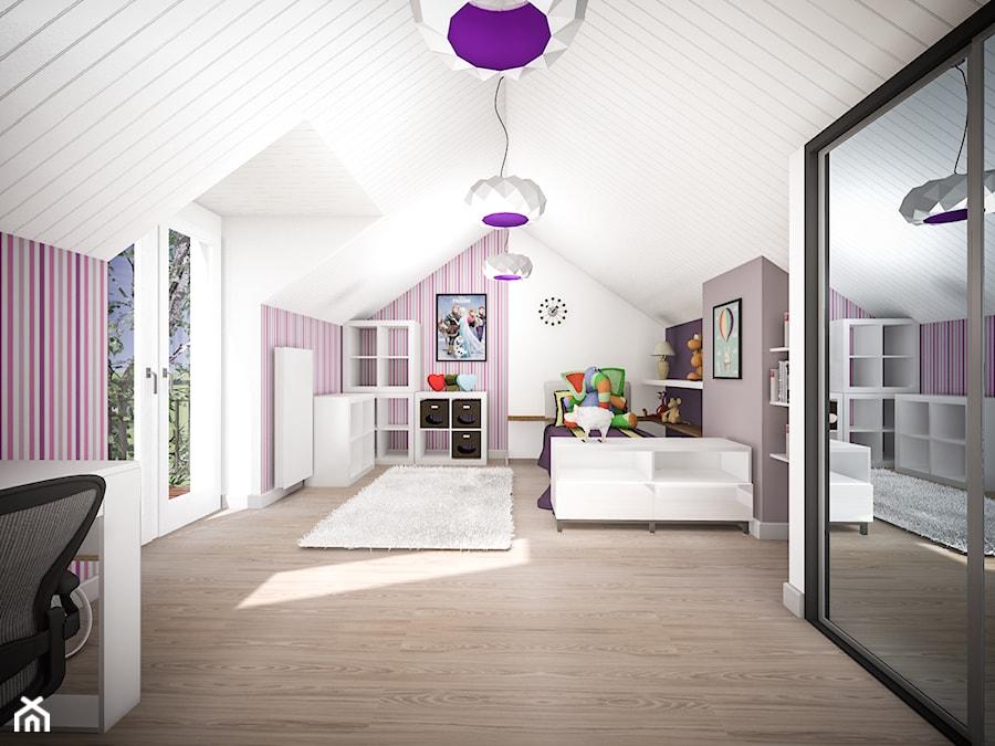 Przebudowa (połowy) bliźniaka z lat 30-tych - Duży biały szary pokój dziecka dla chłopca dla dziewczynki dla ucznia dla nastolatka, styl nowoczesny - zdjęcie od Herman Studio Projektowe