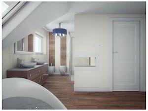 Sypialnia marzeń - Średnia beżowa łazienka na poddaszu w domu jednorodzinnym z oknem, styl eklektyczny - zdjęcie od DemoDesign Jacek Staniszewski Studio projektowania wnętrz