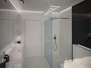 Stylowe salony kąpielowe - Średnia biała łazienka w bloku w domu jednorodzinnym bez okna, styl minimalistyczny - zdjęcie od DemoDesign Jacek Staniszewski Studio projektowania wnętrz