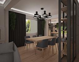 Dom jednopiętrowy - Średnia otwarta biała jadalnia w salonie, styl industrialny - zdjęcie od DemoDesign Jacek Staniszewski Studio projektowania wnętrz