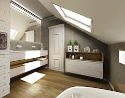 Dom jednorodzinny za miastem - Średnia szara łazienka na poddaszu w domu jednorodzinnym z oknem, st ... - zdjęcie od DemoDesign Jacek Staniszewski Studio projektowania wnętrz - Homebook