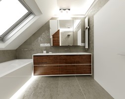 Dom jednopiętrowy na przedmieściach - Średnia biała szara łazienka na poddaszu w domu jednorodzinnym ... - zdjęcie od DemoDesign Jacek Staniszewski Studio projektowania wnętrz - Homebook
