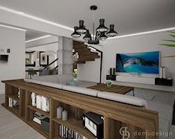 Dom jednopiętrowy na przedmieściach - Średni szary salon z jadalnią - zdjęcie od DemoDesign Jacek Staniszewski Studio projektowania wnętrz - Homebook