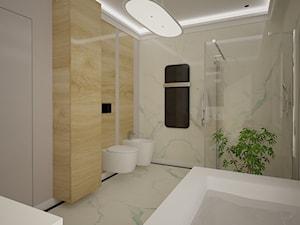Dom jednopiętrowy - Średnia beżowa łazienka w bloku w domu jednorodzinnym bez okna, styl klasyczny - zdjęcie od DemoDesign Jacek Staniszewski Studio projektowania wnętrz