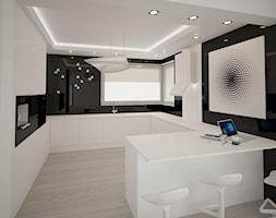 Dom jednopiętrowy na przedmieściach - Duża otwarta biała czarna kuchnia w kształcie litery g z oknem ... - zdjęcie od DemoDesign Jacek Staniszewski Studio projektowania wnętrz - Homebook