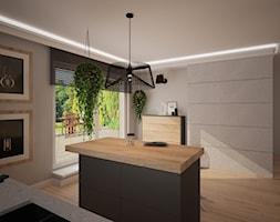 Dom jednopiętrowy - Duża otwarta szara kuchnia jednorzędowa w aneksie z wyspą z oknem, styl industrialny - zdjęcie od DemoDesign Jacek Staniszewski Studio projektowania wnętrz