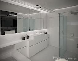Śnieżnobiały salon kąpielowy - Średnia biała łazienka na poddaszu w bloku w domu jednorodzinnym bez ... - zdjęcie od DemoDesign Jacek Staniszewski Studio projektowania wnętrz - Homebook