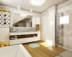 Dom jednorodzinny za miastem - Duża szara łazienka na poddaszu w domu jednorodzinnym z oknem, styl ... - zdjęcie od DemoDesign Jacek Staniszewski Studio projektowania wnętrz - Homebook