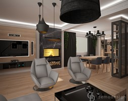 Dom jednopiętrowy - Duży szary salon z jadalnią, styl industrialny - zdjęcie od DemoDesign Jacek Staniszewski Studio projektowania wnętrz - Homebook