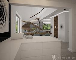 Dom jednopiętrowy na przedmieściach - Średnia otwarta biała jadalnia w kuchni, styl nowoczesny - zdjęcie od DemoDesign Jacek Staniszewski Studio projektowania wnętrz - Homebook