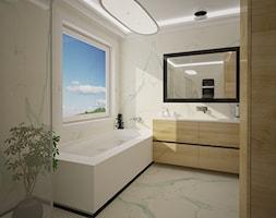 Dom jednopiętrowy - Mała biała łazienka na poddaszu w bloku w domu jednorodzinnym z oknem, styl kla ... - zdjęcie od DemoDesign Jacek Staniszewski Studio projektowania wnętrz - Homebook