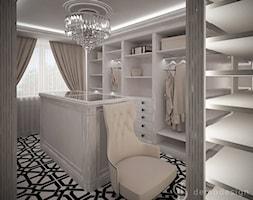 Garderoba glamour - Duża garderoba z oknem oddzielne pomieszczenie, styl glamour - zdjęcie od DemoDesign Jacek Staniszewski Studio projektowania wnętrz
