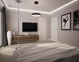 Dom jednopiętrowy na przedmieściach - Średnia szara sypialnia małżeńska z balkonem / tarasem, styl ... - zdjęcie od DemoDesign Jacek Staniszewski Studio projektowania wnętrz - Homebook
