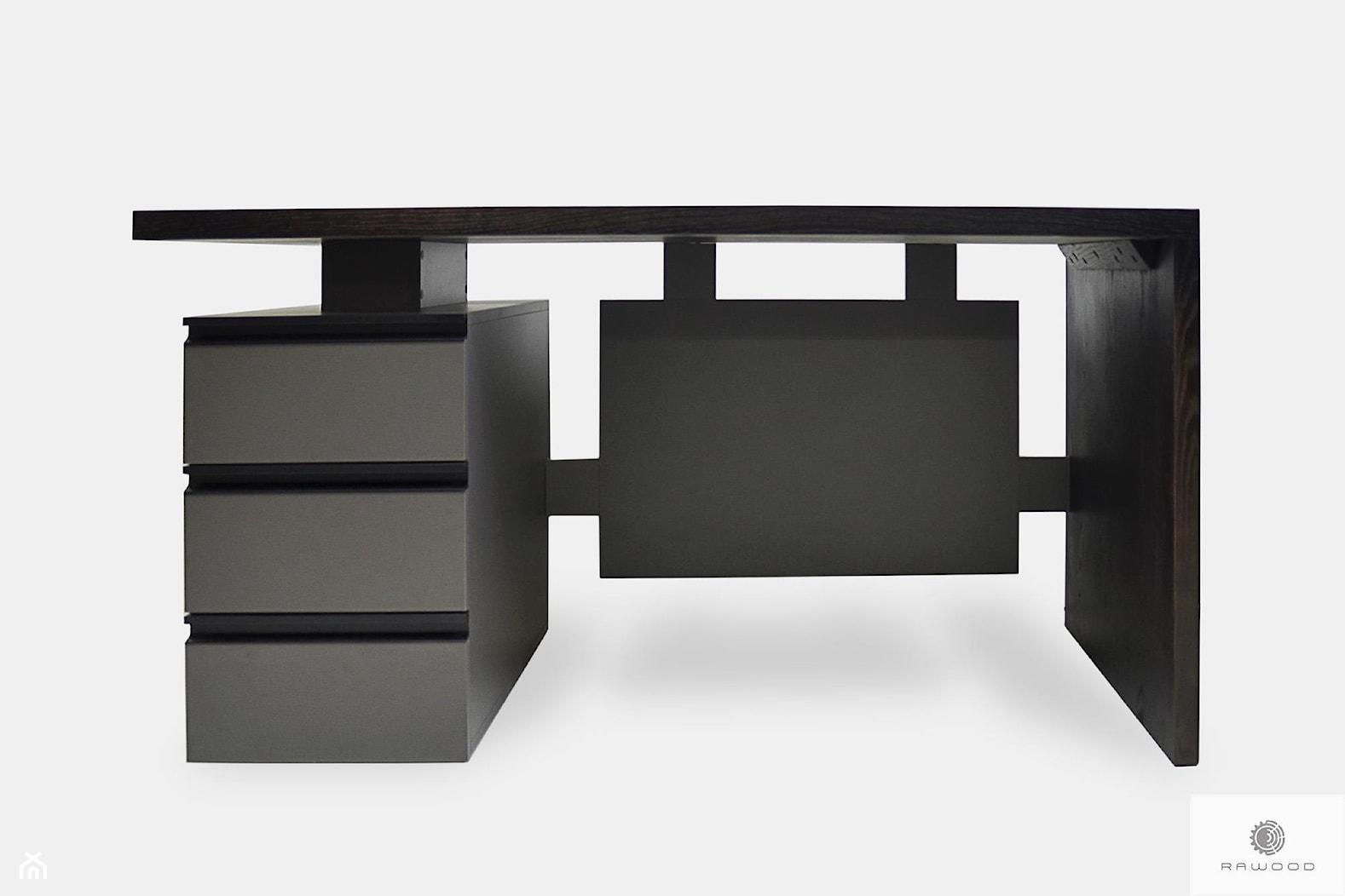 Biurko gabinetowe dębowe z szufladami open space do biura BOSS - zdjęcie od RaWood Premium Furniture - Homebook