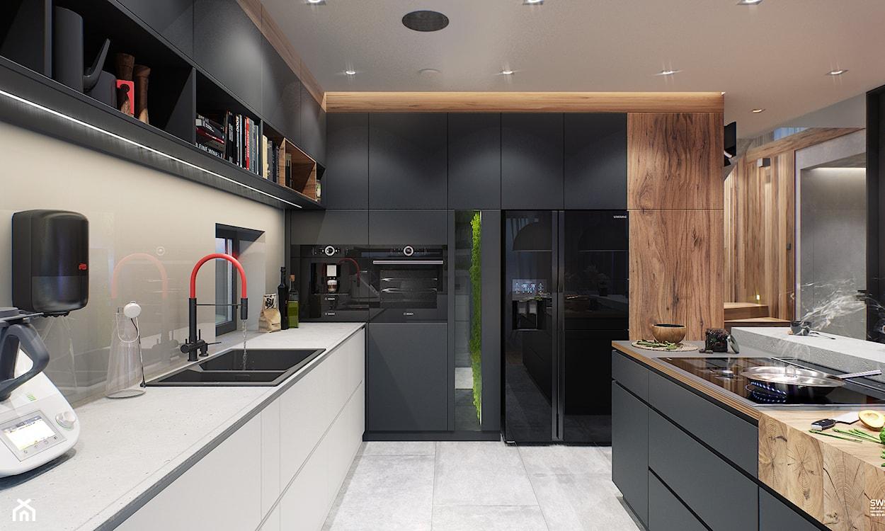 nowoczesna kuchnia, kuchnia z drewnem