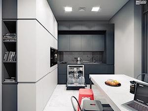 HRD - Średnia biała szara kuchnia w kształcie litery l w aneksie z oknem - zdjęcie od SWSTUDIO