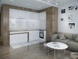 Minmal Krk - Średnia otwarta biała kuchnia w kształcie litery l, styl minimalistyczny - zdjęcie od SWSTUDIO