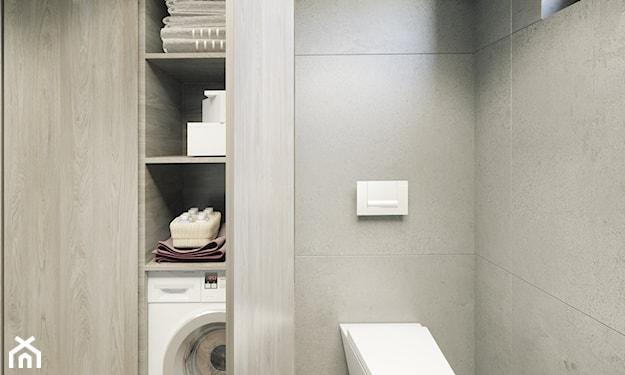 szare ściany, szara szafa w łazience