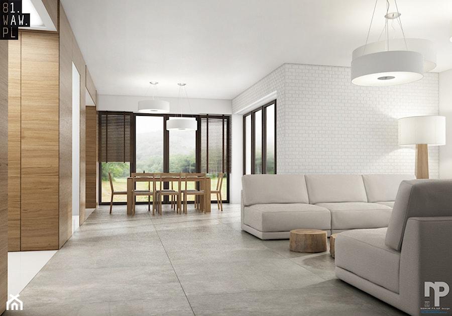 Wzgórza Dylewskie - Średni biały salon z jadalnią, styl minimalistyczny - zdjęcie od 81.WAW.PL