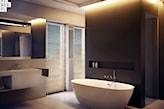 nowoczesna łazienka w odcieniach szarości, wanna wolnostojąca
