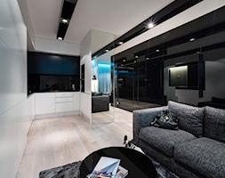 PROJEKT 5 - Mały biały czarny salon z kuchnią, styl nowoczesny - zdjęcie od muc&scott interiors