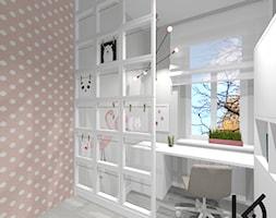 Mały szary różowy pokój dziecka dla dziewczynki dla ucznia dla malucha dla nastolatka, styl skandynawski - zdjęcie od Architektura Wnętrz Katarzyna Chrzuszcz
