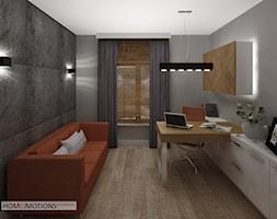 Apartament szary - Duże szare biuro domowe kącik do pracy w pokoju, styl minimalistyczny - zdjęcie od Homeemotions.architects