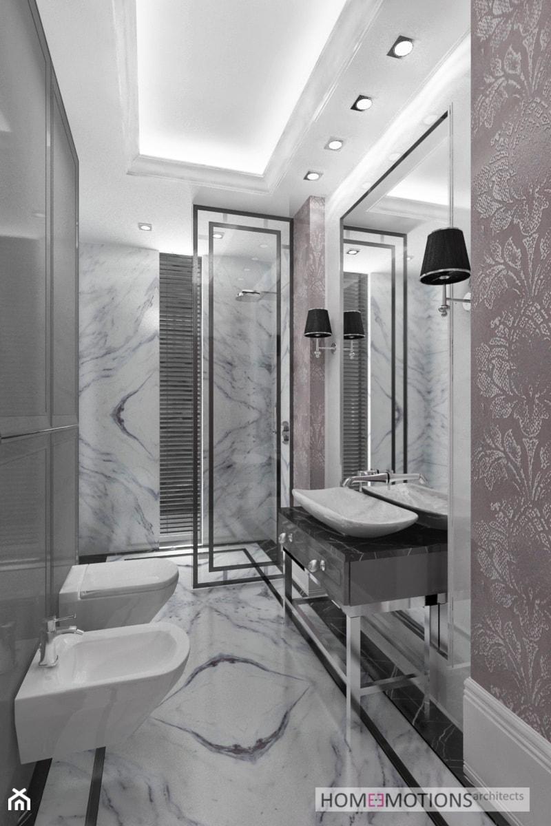 Modern Classic Szara łazienka W Domu Jednorodzinnym Z