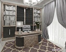 Nowoczesna klasyka - Średnie szare biuro domowe w pokoju, styl art deco - zdjęcie od Homeemotions.architects