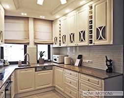 Pastelowo - Średnia otwarta biała beżowa kuchnia w kształcie litery u, styl rustykalny - zdjęcie od Homeemotions.architects