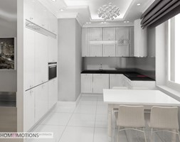 Mała otwarta szara kuchnia w kształcie litery l w aneksie, styl glamour - zdjęcie od Homeemotions.architects