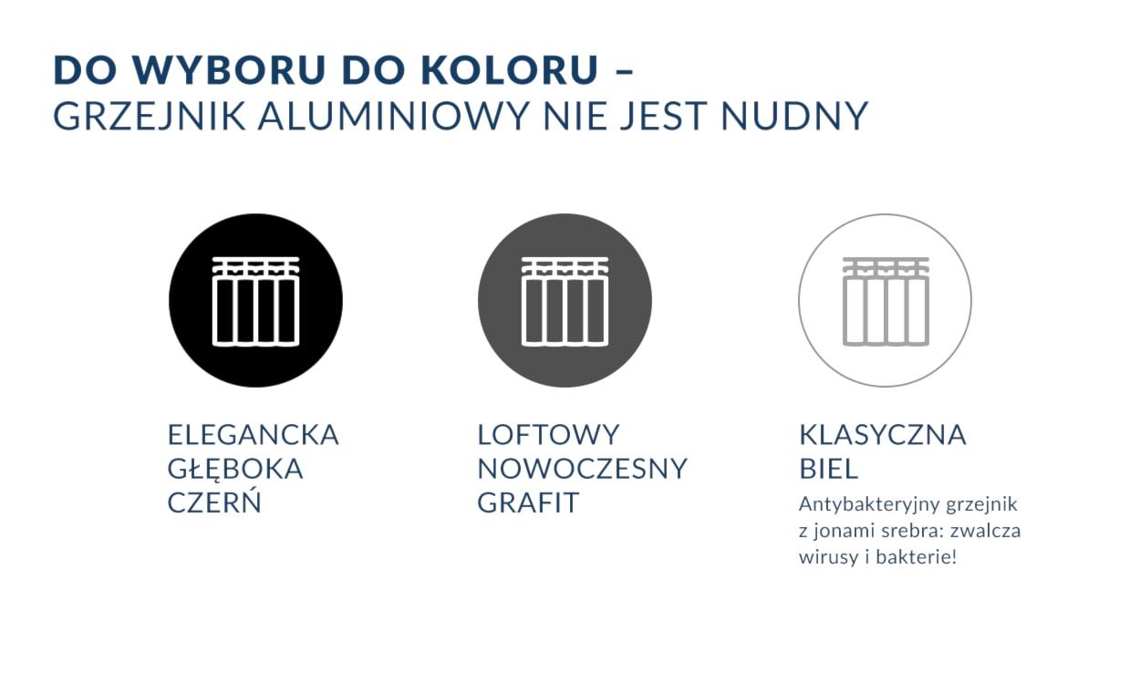 Kolory grzejników aluminiowych - infografika